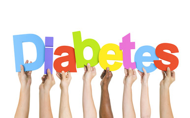 Multiethnic Group of Diverse People Holding Word Diabetes
