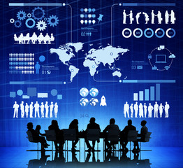 Group of Business People Meeting With Infographic
