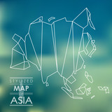 Stylized map of Asia