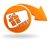 carte cadeau sur bouton orange