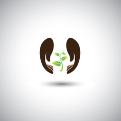 woman's hand protecting plant - nature conservation vector graph