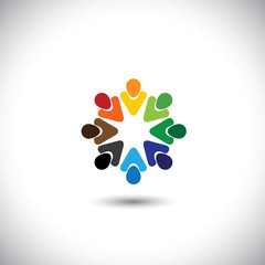 abstract colorful people together as circle - concept vector