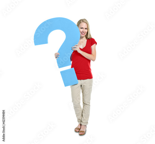 Blonde Woman Holding Question Mark