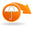 parapluie sur bouton orange