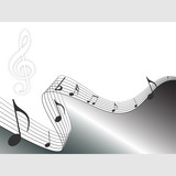 Silver music notes background