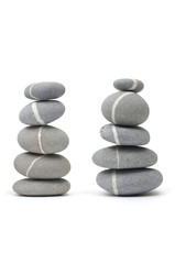 Two Stack of sea rocks on white