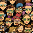 hipster faces seamless background print