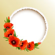 Red poppies floral round frame, vector