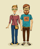 vector hipsters couple