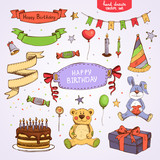 Fototapety happy birthday set