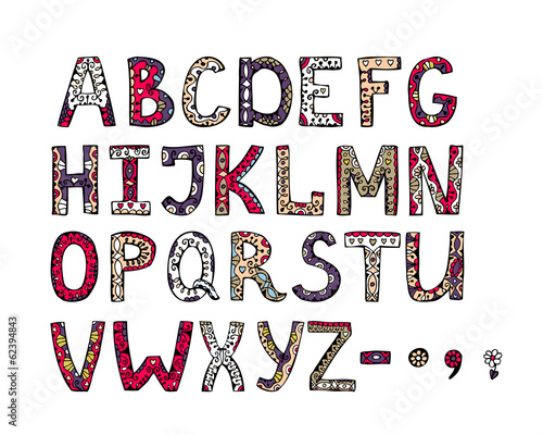 hand drawn vector ornamental alphabet