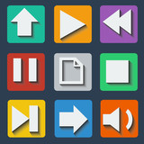 Set of colorful icons with shadow