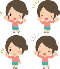 笑顔で声援を送る若い女性