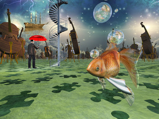 Surreal scene with various elements