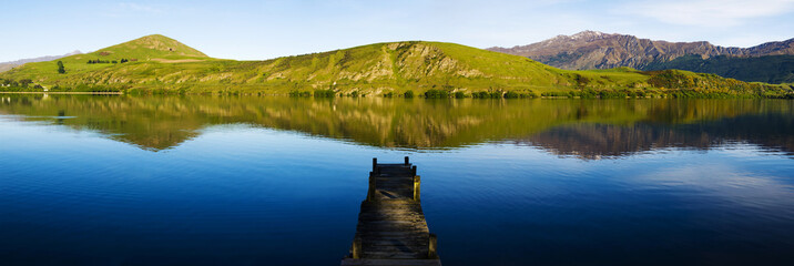Dock on Lake with Clear Sky