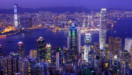 Hong Kong Victoria Harbor at Night