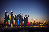 Fototapety Superhero Businessmen in New York City
