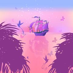 Dawn on the sea. Ancient ship and exotic birds. Fantasy illustra