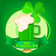 Happy St. Patrick's Day. Card with a mug of beer, clover and gol