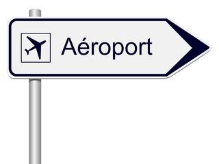 Panneau routier aéroport