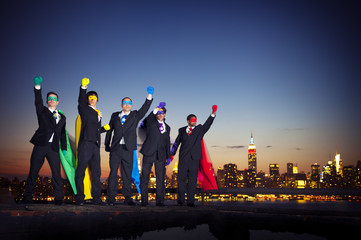 Superhero Businessmen in New York City