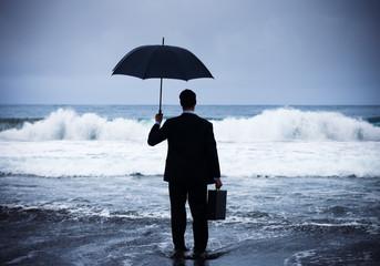 Businessman Facing Big Storm
