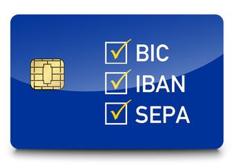 Blaue SEPA Chipkarte