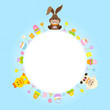Bunny, Duck & Sheep Round Frame Blue