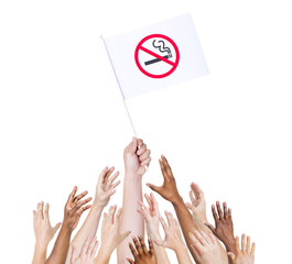 People Holding Flag Against Ciggarettes