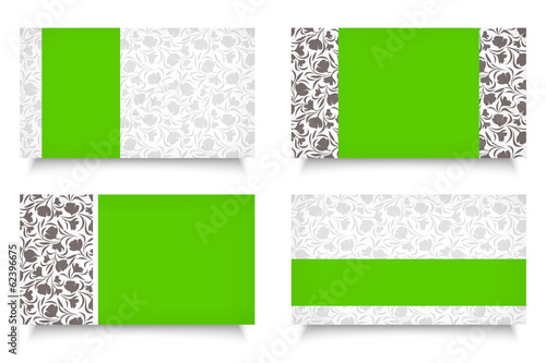Modern business cards with floral patterns. Vector EPS-10.
