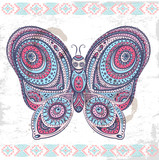 Vintage ethnic butterfly illustration