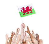Diverse People Holding The Flag of Wales