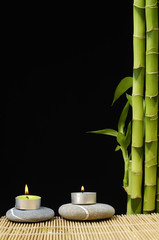 Burning candle on stones with bamboo grove on black background