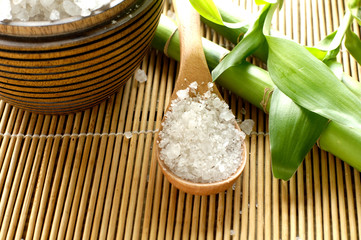 sea salts in wooden bowl with bamboo on mat