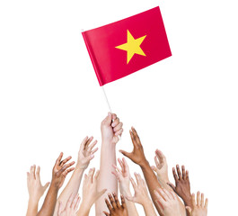 Diver Group of Hands Holding The Flag of Vietnam