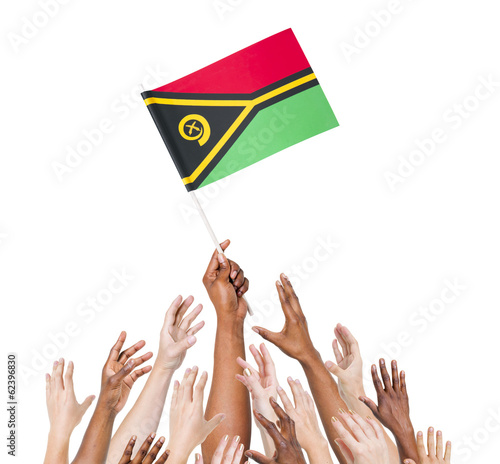 Diverse People Holding The Flag of Vanuatu
