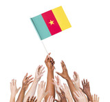 World Human Hands Holding Flag of Cameroon