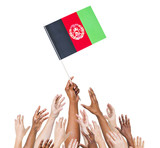 World Human Hands Holding Flag of Afghanistan