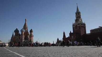 Tourists near St. Basil's Cathedral. St. Basil's Cathedral ? the