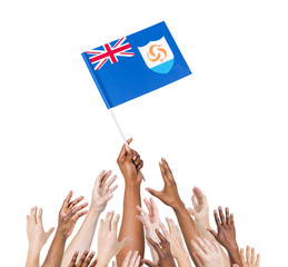 World Human Hands Holding Flag of Anguilla