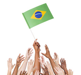 World Human Hands Holding Flag of Brazil