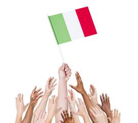 Human Hand Holding Italian Flag