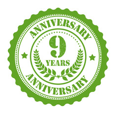 9 years anniversary stamp