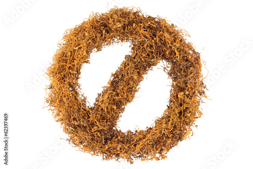 Prohibition sign made of Tobacco isolated on white