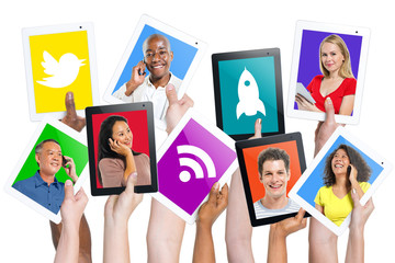 Group of World People Holding Digital Teblets