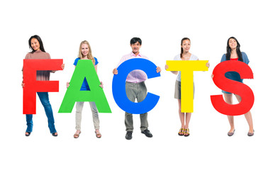 Group of World People Holding Word Facts