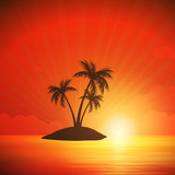 Vector Illustration of an Island with Palm Trees