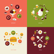 Set of flat design concept icons for restaurant, food and drink