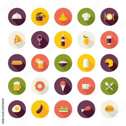 Set of flat design icons for restaurant, food and drink