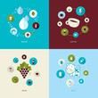 Flat design concept icons for water, coffee, wine and milk.